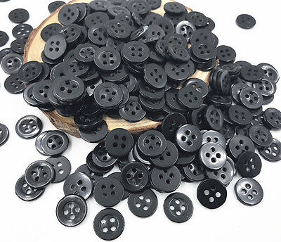 1000X Black Round Resin 4 Holes Buttons Fit Sewing Scrapbooking Handicrafts 11mm