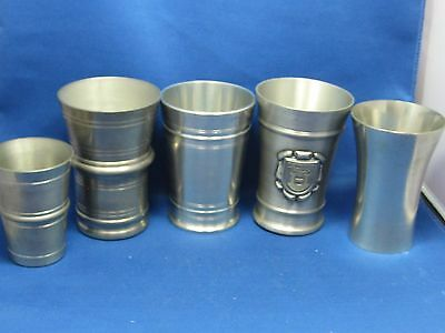 Lot of 5 Antique German Solid Pewter Cups/Containers Engraved Marks