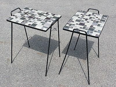 Pair of Vintage Mid-Century Wrought Iron and Tile Patio Tables