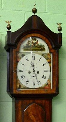 Georgian Flame Mahogany 8 day Longcase Grandfather Clock C1830 in working order