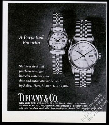 1978 Rolex Datejust watch Tiffany's branded dial photo vintage print ad