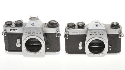 Lot of 2 Asahi Pentax cameras, ESII and Spotmatic, not in working order
