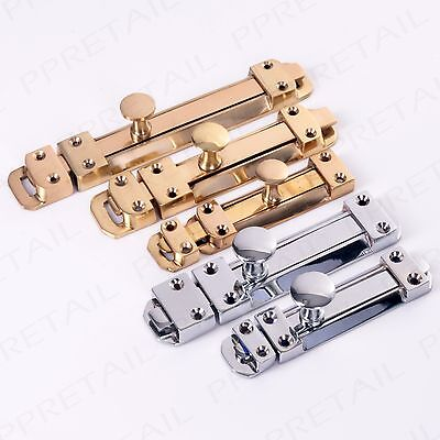 "4""/6""/8"" SOLID BRASS/CHROME SLIDING DOOR BOLT DEAD LOCK Security Catch/Latch"