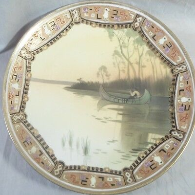 hand painted NIPPON plate The Hunter American Indian Canoe arts & crafts border