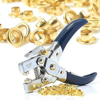 HEAVY DUTY EYELET PLIERS & EXTRA EYELETS Leather Hole Punch Tool Grommets Brass