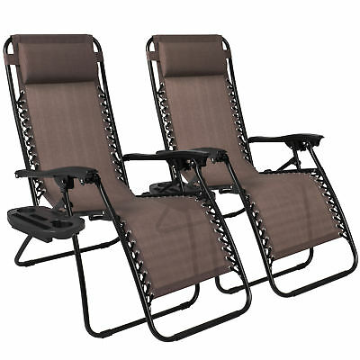 Zero Gravity Chairs Case Of (2) Lounge Patio Chairs Outdoor Yard Beach- Brown