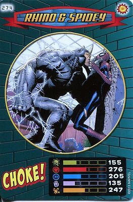 Spiderman Heroes And Villains Card #274 Rhino & Spidey