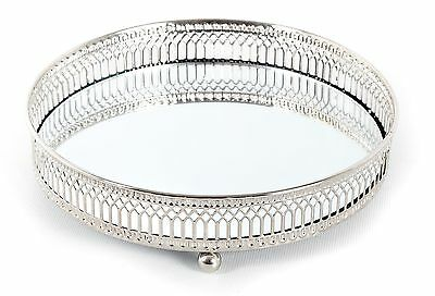Silver Effect Mirror Tealight Candle Tray Plate 20Cm