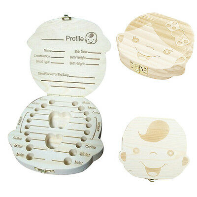 Newly Baby Tooth Box Child Milk Teeth First Curl Saver Wood Holder Birthday Gift