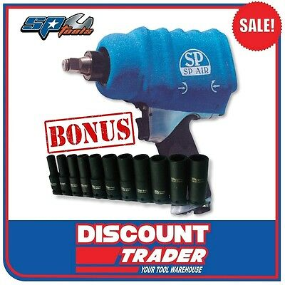 "SP Tools Air 1/2"" Impact Wrench 1140Nm Made in Japan Bonus Socket Set SP-1140EXB"