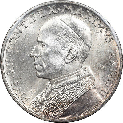 1940 Vatican City 5 Lire, Km #28 Ms