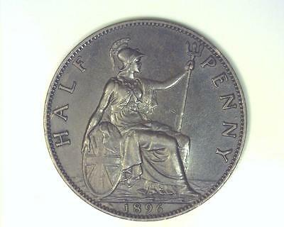 Great Britain 1896 Half-Penny Km789 About Uncirculated ~Fc62