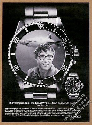 1976 Rolex Submariner watch Great White Shark Peter Benchley photo print ad