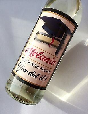 Personalised Graduation Congratulations Gift, Wine, Champagne Beer Bottle Label