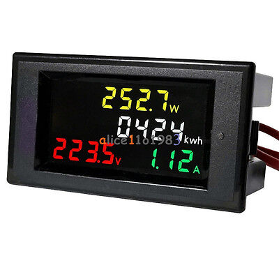 AC 200-450V LCD Digital Voltmeter Ammeter Volt Amp Power Kwh Panel Meter 100A CT
