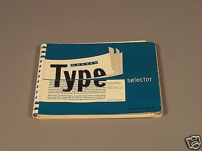 Vintage MONSEN Type Selector Book from 1956 - Excellent Condition - Historical