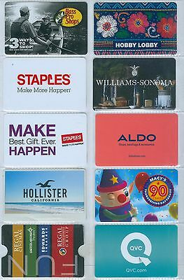 E5-14   Nice Selection Of 10 Gift Cards - Various Stores