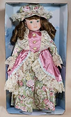 """Soft Expressions Porcelain Collector's Doll 16"""" Brown Hair Green Eyes With Stand"""
