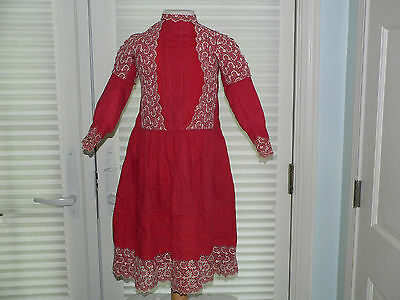 Little Girls  Edwardian 1900 Dress Red Cotton Dress with Embroidered Lace.