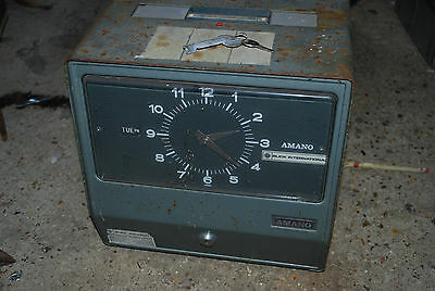 Vintage Blick international Amano time recorder, clocking in machine with keys