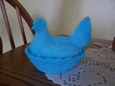 "OLD! Vintage Robin Egg Blue Chicken Hen Nest Covered Dish 5"" Woven Split Tail"