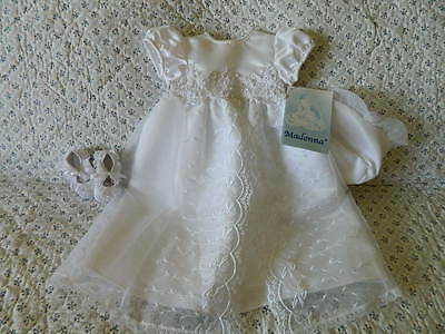 Baby Girl Christening Dress Baptism Gown, Bonnet, Shoes White 9 12 Months NEW