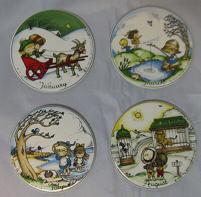 VTG Joan Walsh Anglund 1966 4pc Porcelain Ornaments January March July August