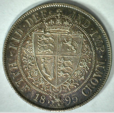 1895 Silver Half Crown Great Britain Victoria English UK Coin XF