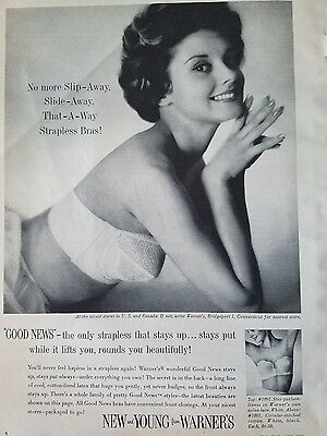 1959 new and Young women's strapless bra by Warner's vintage fashion ad