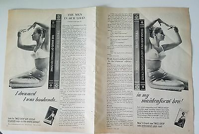 1959 Maidenform women's bra I dreamed I was bookends two-page ad