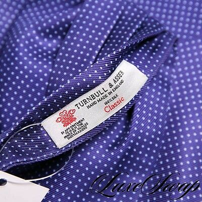LNWOT Turnbull & Asser Made England Silk Twill Navy Pindot Spotted Ascot Scarf