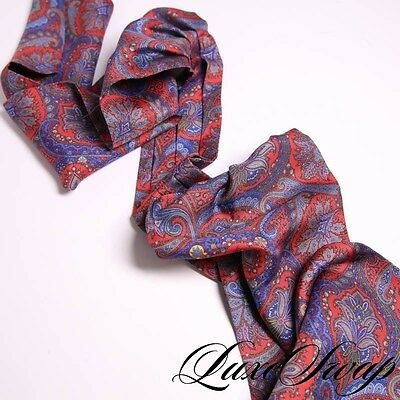 LNWOT Ben Silver Made in Germany Modern Navy Silk Mosaic Paisley Ascot Scarf NR