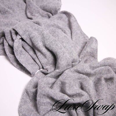 Malo Made in Italy 100% Cashmere Soft Smoke Grey Ribbed Border Scarf Muffler NR
