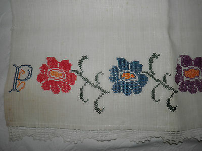 Antique Linen Towel - Cross Stitch Initials Flowers - Crocheted Edging