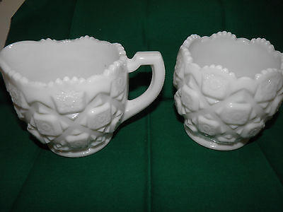 Vintage Westmoreland Milk Glass Old Quilt Creamer And Open Sugar Bowl