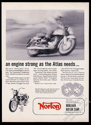 1965 Norton Atlas 750cc motorcycle speed blur photo vintage print ad