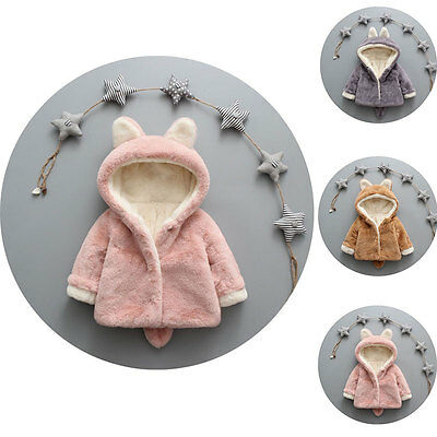 New Baby Toddler Girl Winter Wool Fur Hooded Coat Outerwear Jacket
