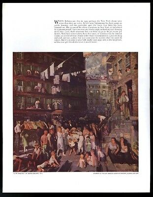 1939 George Bellows tenement Cliff Dwellers 1913 painting vintage print article
