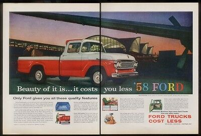 1958 Ford pickup red truck photo print ad