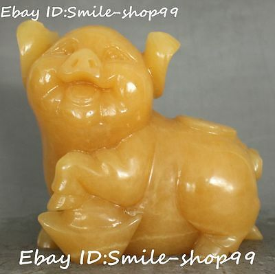 Chinese Natural Yellow Jade Pure Hand Carved Zodiac Year Pig Swine Animal Statue