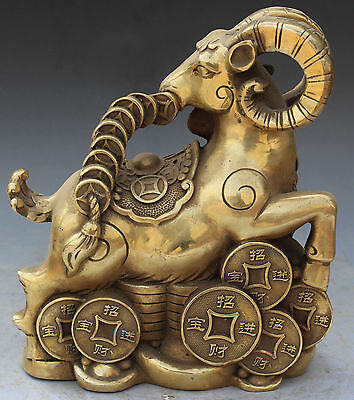 """9"""" Marked Chinese FengShui Bronze Coin Wealth Money Animal Sheep Goat Ram Statue"""