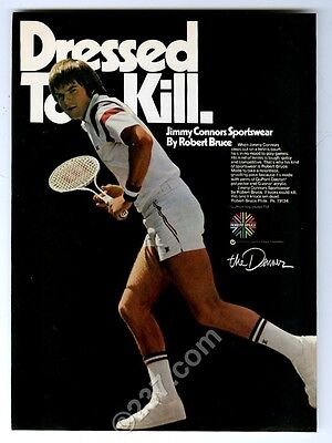 1976 Jimmy Connors photo Robert Bruce JC tennis clothes vintage print ad