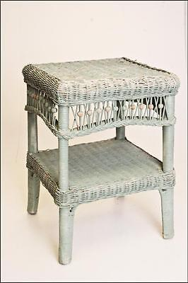 Vintage WICKER SIDE TABLE plant stand shabby blue cottage chic old french garden