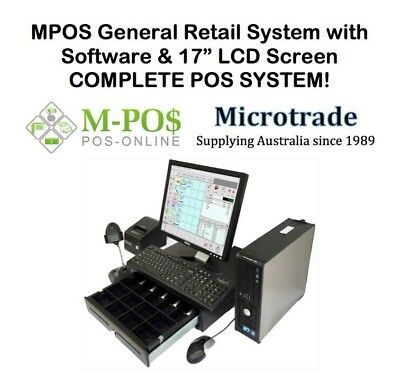 "POS - Cash Register System 17"" LCD Screen, Printer, Scanner & Retail Software."