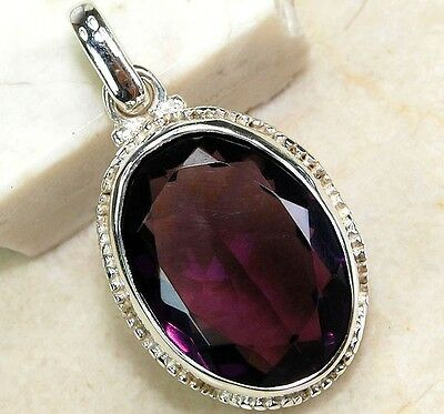 6CT Natural Amethyst 925 Solid Genuine Sterling Silver Pendant Jewelry, S6-7
