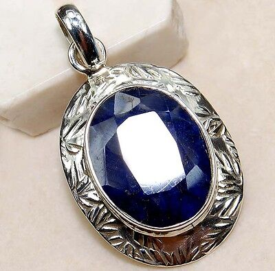 8CT Earth Mined Natural Sapphire 925 Sterling Silver Pendant Jewelry, S6-8