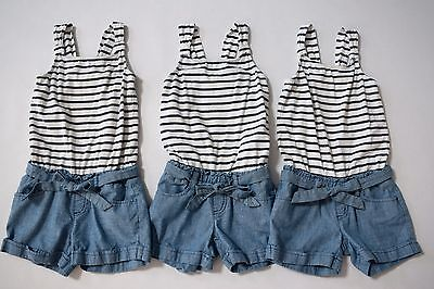 Crazy 8 girls navy white stripe chambray shorts romper sz S (5-6) twins sisters