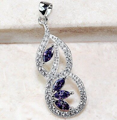 1CT Amethyst & White Topaz 925 Solid Sterling Silver Pendant Jewelry, T5-7