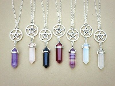 Natural Agate Crystal Pendant Pentagram Necklace Hexagonal Columns Jewelry