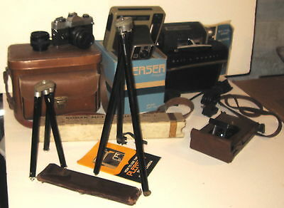 4 Cameras & Photographic Equipment & Cases Sold As One Lot !!